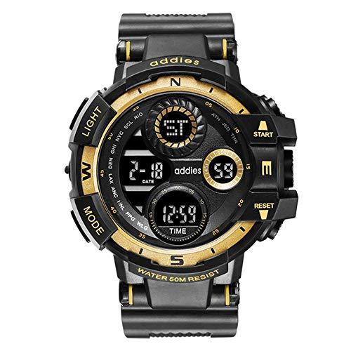 Reloj Militar para Hombre Reloj electrónico para Deportes al Aire Libre Reloj de Pulsera Militar 50M Cronómetro Impermeable LED Luminoso 3 Ventanas Pantalla Digital Relojes analógicos,Oro