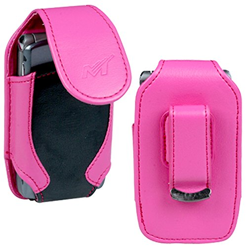 Premium Black/Hot Pink Verical Leather Case Pouch with Belt Clip for Motorola VE20 RAZR, Adventrure V750, V3 RAZR/LG VX8560 Chocolate 3, AX565, VX8700, VX8600, KE970