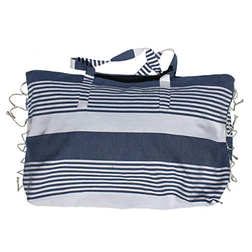 Just a Joy - Extra grote strandtas - Hamam Design - Navy Blue