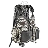 NovelBee Mesh Fly Fishing Backpack Vest Combo Chest Pack with Drink Holder and Multi-function Zippered Pockets,Adjustable Size for Men and Women (Camo Grey)