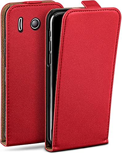 moex Flip Hülle für Huawei Ascend Y300 Hülle klappbar, 360 Grad R&um Komplett-Schutz, Klapphülle aus Vegan Leder, Handytasche mit vertikaler Klappe, magnetisch - Rot