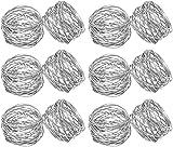SKAVIJ 12 Stück Serviettenringe Set für Ramadan, Eid, Hochzeit, Dinnerpartys, Esstisch Dekoration Handgemacht Metall Serviettenhalter (Silber)