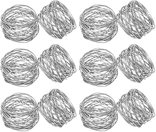SKAVIJ Napkin Rings Set of 12 for Dinner Parties, Dining Table Decoration Handmade Napkin Holder (Silver)