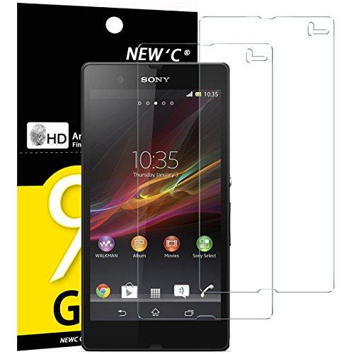 NEW'C 2 Stück, Schutzfolie Panzerglas für Sony Xperia Z, Frei von Kratzern, 9H Festigkeit, HD Bildschirmschutzfolie, 0.33mm Ultra-klar, Ultrawiderstandsfähig