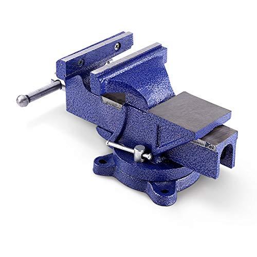 Tornillo de banco de 150 mm de ancho de sujeción, paralelo, tornillo de banco de mesa con yunque giratorio 360°, para banco de trabajo, taller, fijación segura de piezas de trabajo, peso 12 kg