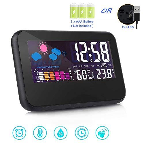 Despertadores, Reloj Despertadores, despertar reloj de luz con visualización digital modelo, Despertadores Cambiado Entre 7 Colores con 8 Tonos, Reloj Despertador y luz Nocturna para Viajes a casa, indicador de temperatura (2)