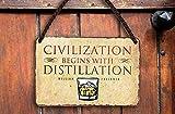 Targa in metallo con scritta 'Civilization' 'William Faulkner', decorazione scozzese irlandese, pub, banco pub, banco di compleanno, fan delle bevande spiritose, 18 x 12 cm