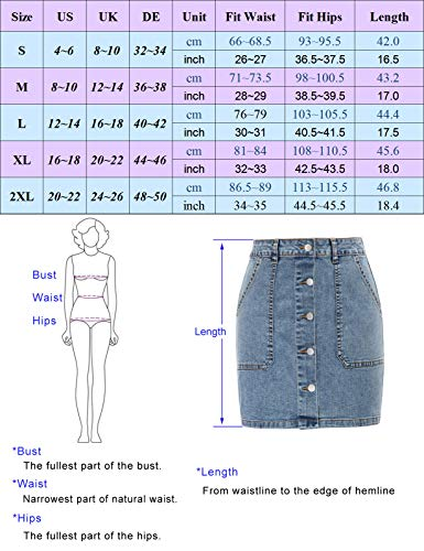 Faldas Cintura Alta Cortos de Mezclilla Bolsillos Verano Casual Lápiz Falda CLX011S21-02 L
