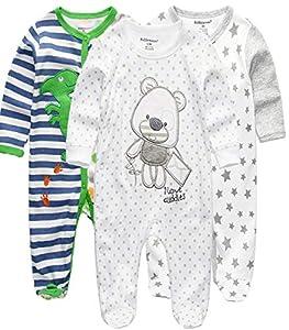 Kiddiezoom Pelele para bebé y niña, pack de 3 unidades Dinosaurio verde y oso 0-3 Meses