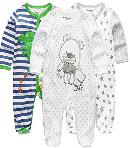Kiddiezoom Pijama de algodón de manga larga para bebé y niño