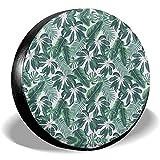Olive Croft Hojas Tropicales Mixtas Cubierta de llanta de Repuesto Lisa Cubiertas de Rueda universales para Remolque RV SUV Vehículos de camión 14-17inch
