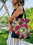 Tote bag sac cabas wax tissu africain fleur de mariage jaune et fuchsia - sac ethnique idée cadeau femme