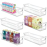 mDesign Plastic Kitchen Pantry Cabinet, Refrigerator or Freezer Food Storage Bin with Handles -...