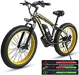Bicicleta Eléctrica Bicicleta de montaña eléctrica para adultos, bicicleta eléctrica Tres modos de trabajo, 26 'Neumático de grasa MTB 21 velocidades engranajes de velocidad / Offroad Bicicleta eléctr