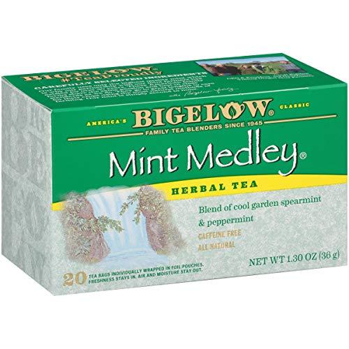 Bigelow Mint Medley Herbal Tea Bags 20 Count Box (Pack of 6), Caffeine Free Herbal Tea 120 Tea Bags Total.