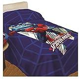 Hasbro Spiderman 9638519P491 - Colcha estampada, 100% algodón, azul, 90 x 200 cm