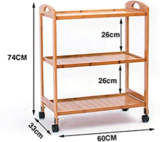 Movable shelf Mobile Shelf Wooden Bamboo Hand Push Dining Car Beauty Stroller Mobile Wine Storage Rack Cart Trolley  Color B2