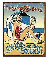 Beach What Happenes ブリキ看板 輸入品 32×40cm ビンテージ風