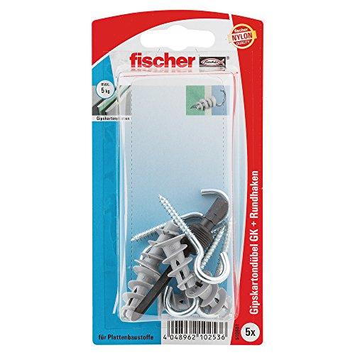 fischer 510661 RH K SB-Karte, Inhalt Gipskartondübel GK, 5 x Rundhaken 4,3 x 46, 1 x Setzwerkzeug