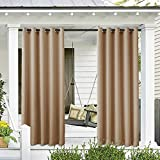 Cololeaf Outdoor Curtain for Patio Waterproof Grommet Top Thermal Insulated Blackout Outdoor Curtain Drape, Porch, Gazebo, Pergola, Cabana, Dock, Beach Home - Wheat 52W x 96L Inch (1 Panel)