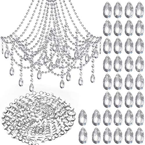 5 Meter Crystal Chain with 36 Crystal Pendants Clear Chandeliers DIY Crafts Crystal Beaded Chain product image