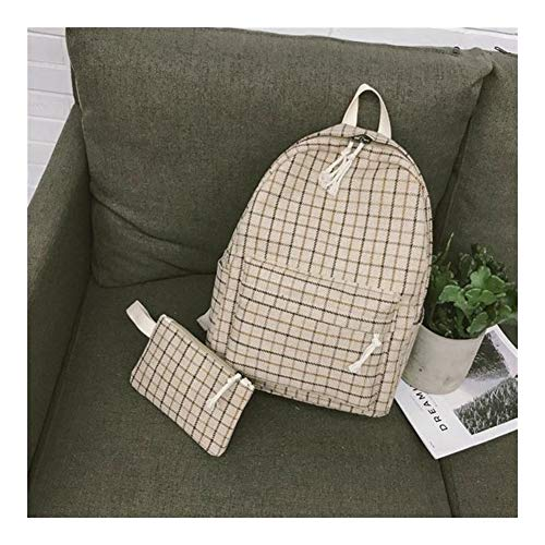 Angle-w Design Elegante, Viaggio Semplice, 2Set Plaid Pattern Backpack Donne Donne Borsa a Tracolla Nuovo Adolescente Girl School Backpack Scaffi Andiamo Oltre (Color : Khaki 2set, Size : XL)
