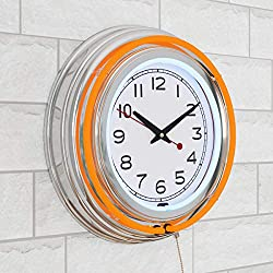 Lavish Home Retro Neon Wall Clock - Battery Operated Wall Clock Vintage Bar Garage Kitchen Game Room – 14 Inch Round Analog (Orange and White)