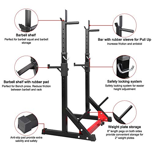 TANTIKC Bench Press Rack丨Household Indoor Squat Rack and Bench Press丨Adjustable Multifunctional Barbell Rack Squat Bench Press Trainer,44.5 to 62.2'',440lbs