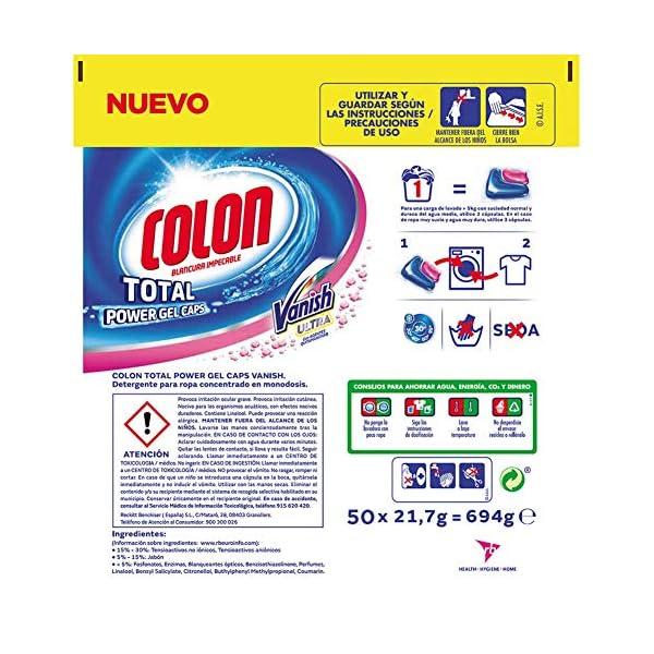 Colon Detergente de Ropa para Lavadora en Cápsulas con Quitamanchas Vanish – 50 Dosis