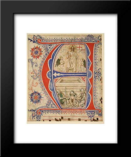 North Italian Culture - 20x24 Framed Art by Museum Prints Titled: Manuscript Leaf Showing an Illuminated Initial A and The Resurrection