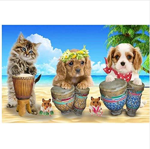 N\A Pinturas con Numeros para Adultos - Kits Manualidades - Pinturas para Lienzo - Pinturas Oleo - DIY Regalos Cielo Azul Y Nubes Blancas Playa Gato Perro Animal
