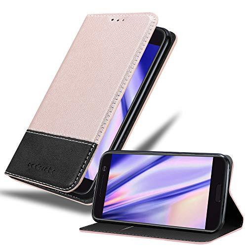 Cadorabo Hülle für HTC 10 (One M10) - Hülle in Rose Gold SCHWARZ – Handyhülle mit Standfunktion und Kartenfach aus Einer Kunstlederkombi - Case Cover Schutzhülle Etui Tasche Book