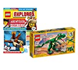 Collectix Lego Set Creator 3 en 1 Dinosaurio 31058 + cuaderno Lego Explorer (aceracercos, conocimientos, plantillas para colorear, incluye bolsa de plástico 11947)
