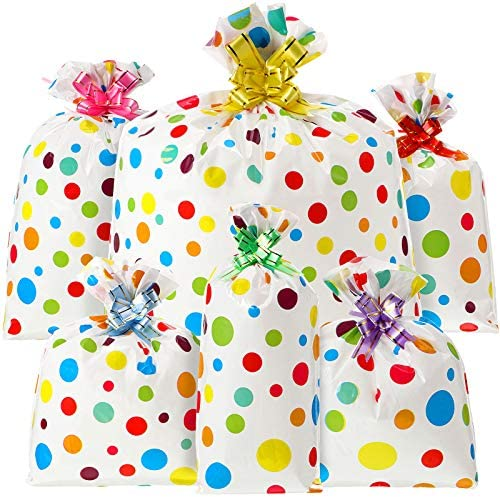 36 Pieces Different Sizes Snack Bag Multi Color Dots Candy Packaging Bag with Pull Bows for product image