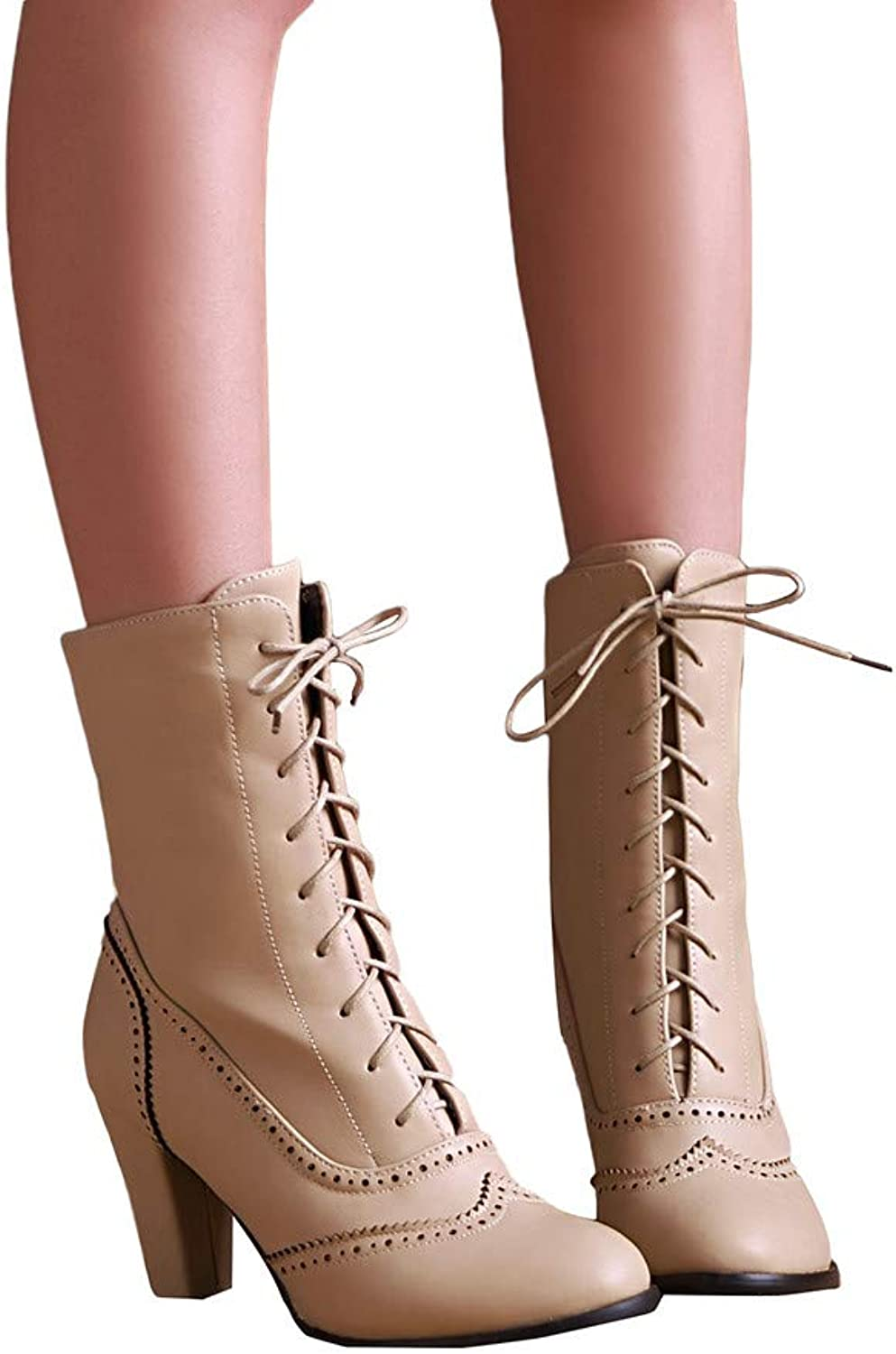 DongDong Seasonal OffersWomen's Classic Pointed Stacked Chunky Ankle Booties - Leather Lace-Up High-Heeled Martin Boots