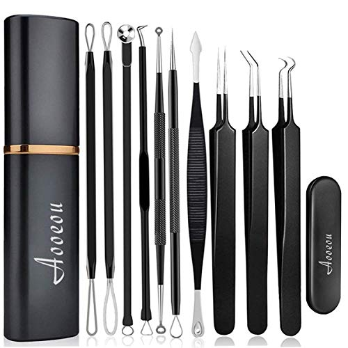 [Upgrade]Pimple Popper Tool Kit - Aooeou Professional Stainless Steel Pimple Tweezers Comedones Extractor Tool Kit- Treatment for Pimples,Blackheads,Zit Removing, Forehead and Nose