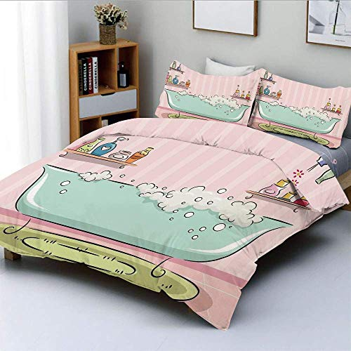 Duvet Cover Set,Illustration of a Bathtub with Bubbles in Girly Room Aroma Oil AromatherapyDecorative 3 Piece Bedding Set with 2 Pillow Sham,Pink and Blue,Best Gift for Kids & Easy Care Anti