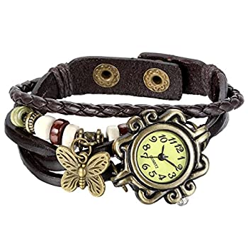 JewelryWe New Women Wristwatch Butterfly Quartz Vintage Weave Wrap Leather Strap Girl Lady Bracelet Watch for Mothers Day