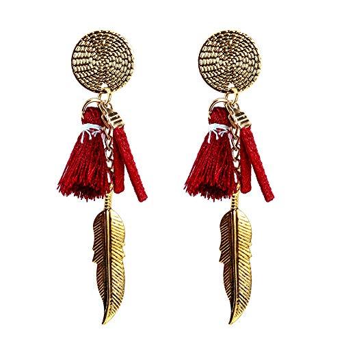 ZRDMN Europa en Amerika overdreven legering franje hars bladeren lange oorbellen meerlagige oorknopjes dangler oordruppel sieraden voor vrouwen meisje