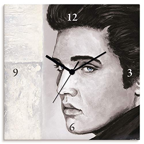 Artland Wanduhr ohne Tickgeräusche Leinwanduhr Funkuhr lautlos Quadratisch 30x30 cm Design Musik Porträt Elvis Presley Hollywood Star Grau T9QW