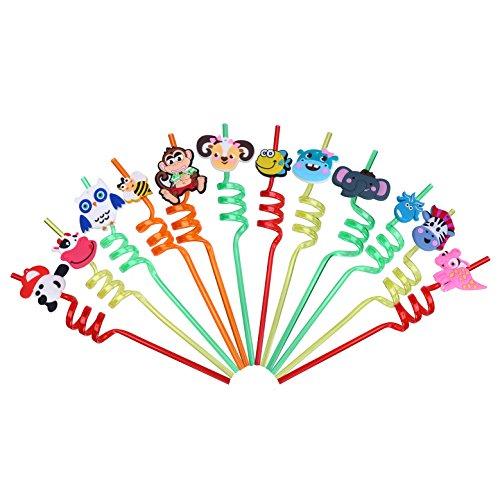 Lokipa - 12cannucce ricurve a forma di animali per bambini, riutilizzabili, in plastica, per feste di compleanno, baby shower