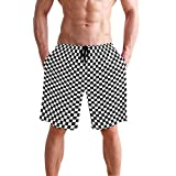 Titlesign Black White Race Checkered Flag Mens Swim Trunks Quick Dry Board Shorts with Pockets Summer Swimsuit Beach Short (L)