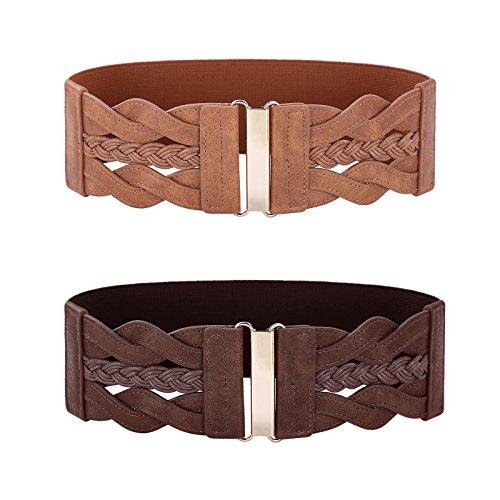 Women's Vintage Belt Retro Wide Elastic Stretch Belt Brown Coffee M