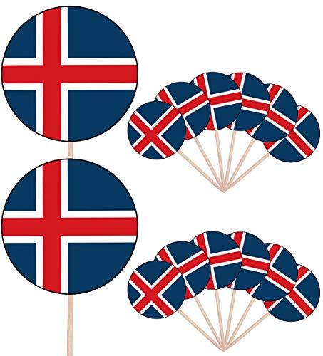 Island-Flagge Party Essen Kuchen Cupcakes Picks Sticks Flags Stand Up Dekorationen Topper (14 Stück)