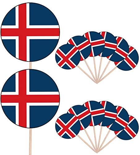 IJsland Vlag Partij Voedsel Cake Cupcakes Picks Sticks Vlaggen Opstaan Decoraties Toppers (Pak van 14)