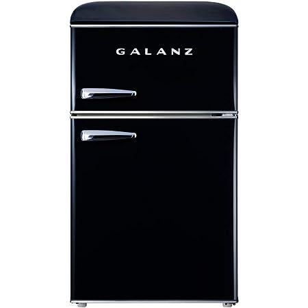 Galanz GLR31TBKER Retro Compact Refrigerator, 3.1 Cu.Ft Mini Fridge with Dual Doors, Adjustable Mechanical Thermostat with True Freezer, 2 Removable glass shelf, 1 Crystal Crisper, 1 Power Cord, Black