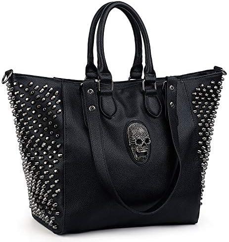 UTO Women Skull Tote Bag Rivet Studded Handbag 3 Ways Convertible PU Leather Purse Shopper Shoulder product image