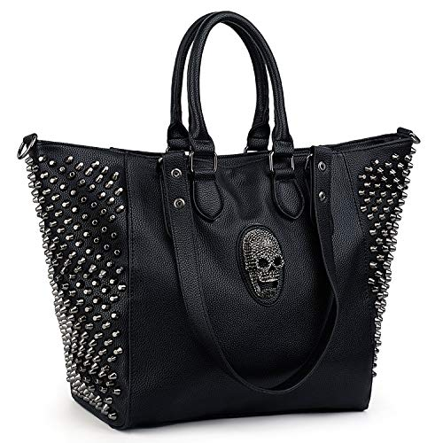 UTO Women Skull Tote Bag Rivet Studded Handbag 3-Ways Convertible PU Leather Purse Shopper Shoulder Bags
