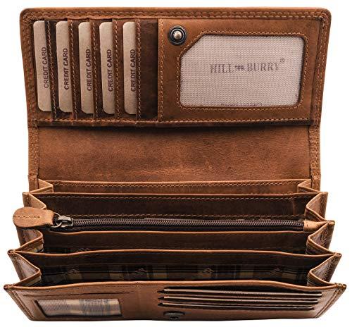 Hill Burry Leder Geldbörse | echtes Vintage Leder - Lange weiches Portemonnaie RFID (Braun)