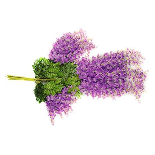 Butterme 5Pcs 2,5-pieds Artificielle Wisteria fleur de vigne Wisteria fleurs de soie pour jardin décoration florale bricolage Salon Hanging Maison Fleur de vigne Plante Décoration de mariage de fête